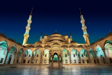 A hauntingly beautiful night in the Blue Mosque Courtyard in Istanbul.