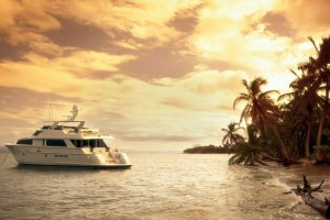 An undated handout image released to the media on Thursday, Aug, 28, 2008, shows the exterior of a 100 foot long motor yacht anchored on an unidentified beach. This weekend will be Burt Prince's last chance to salvage something from a summer fishing season wrecked by the surge in fuel prices and job losses on Wall Street. Source: Channel Blade Technologies via Bloomberg News